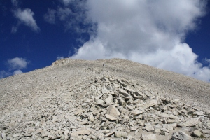 The talus leading to the summit